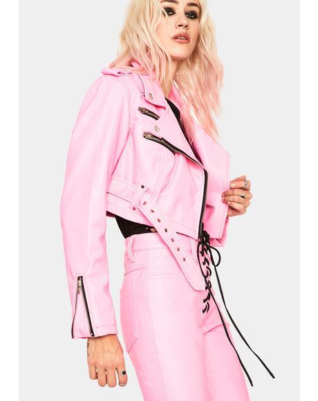Pink Cropped Moto Jacket
