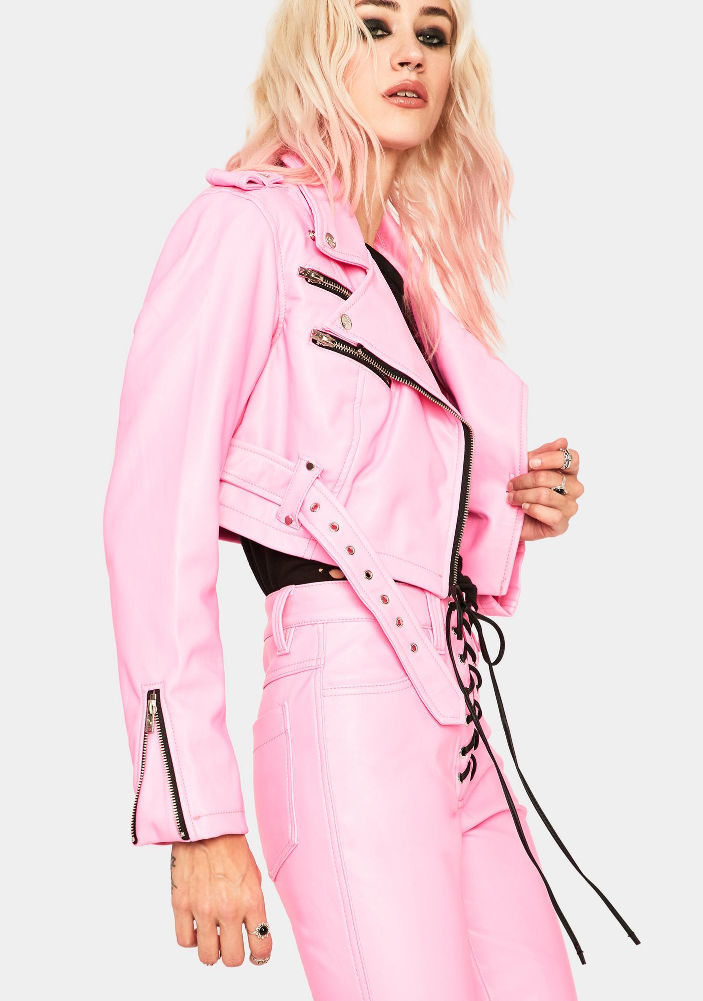 Tripp NYC Pink Cropped Moto Jacket