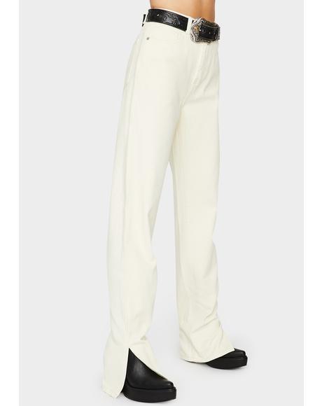 Off White Wide Leg Split Hem Jeans
