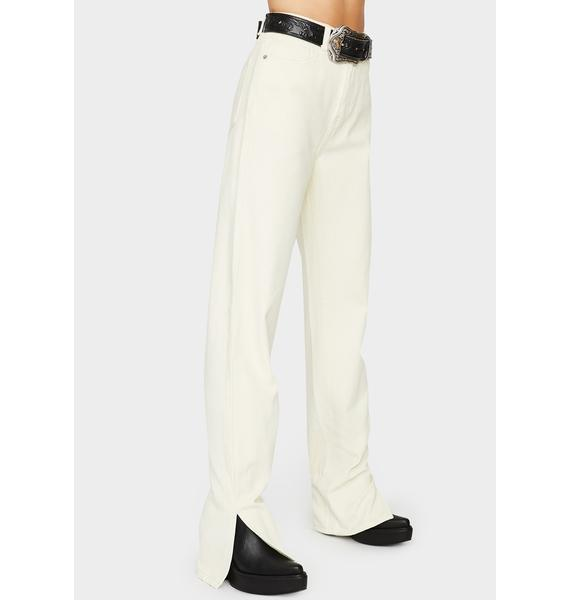 Momokrom Off White Wide Leg Split Hem Jeans