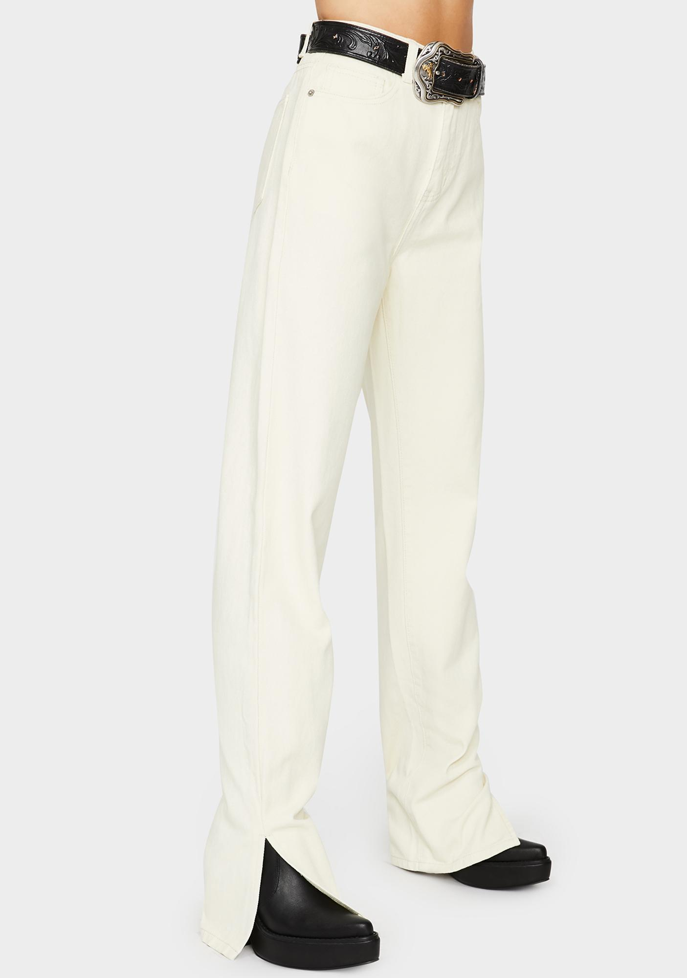 Momokrom Off White Wide Leg Split Hem Jeans