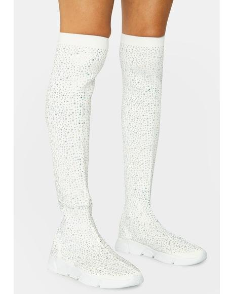 Pure Baddie Nation Knee High Rhinestone Sneaker Boots
