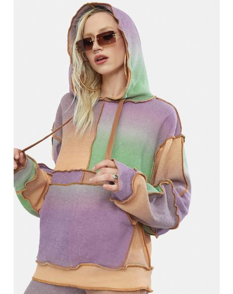 Ombre Mix Patchwork Knit Hoodie