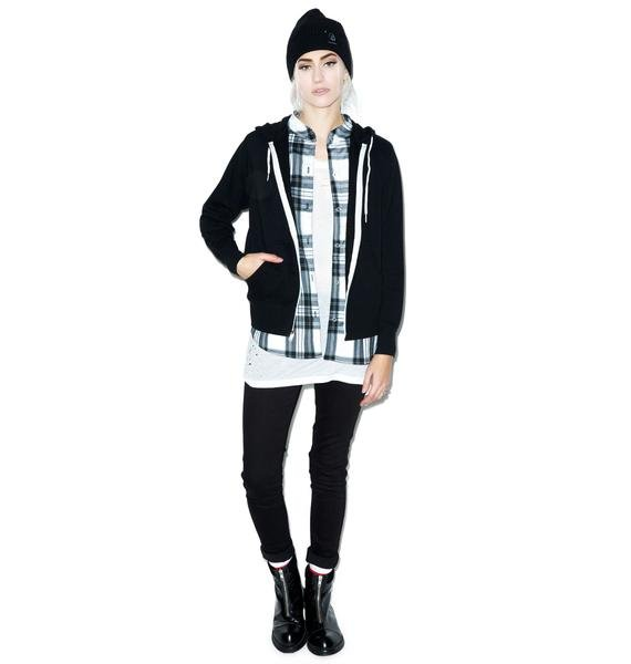 JET by John Eshaya Zip Hoodie With Plaid Shirt