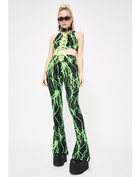 Green Electric Lace-Up Flares