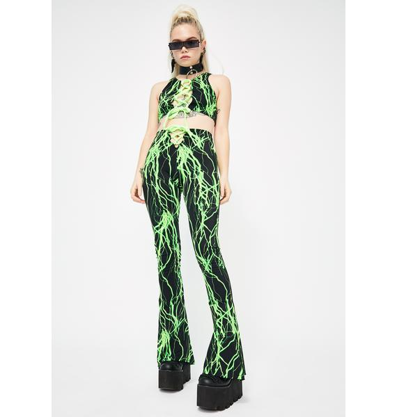 Babydol Clothing  Green Electric Lace-Up Flares