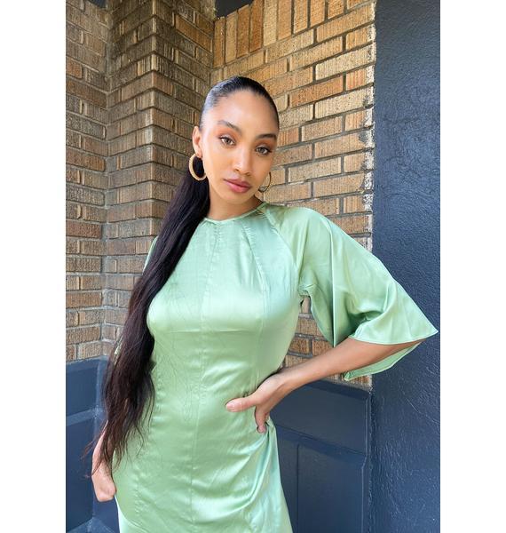 Glamorous Green Satin Midi Dress
