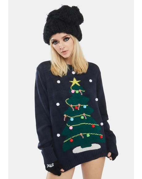 Snowy Christmas Tree Sweater
