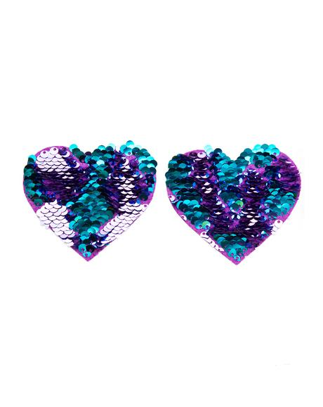 Heart Purple And Blue Sequin Pasties