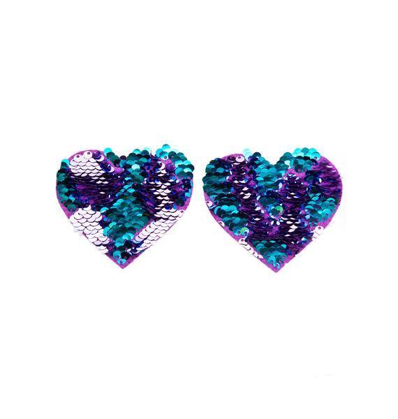 Neva Nude Heart Purple And Blue Sequin Pasties