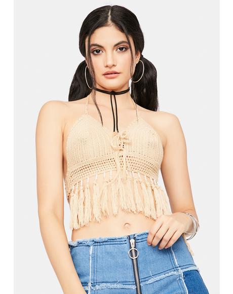 Nude Hippie Bliss Crochet Fringe Bra Top
