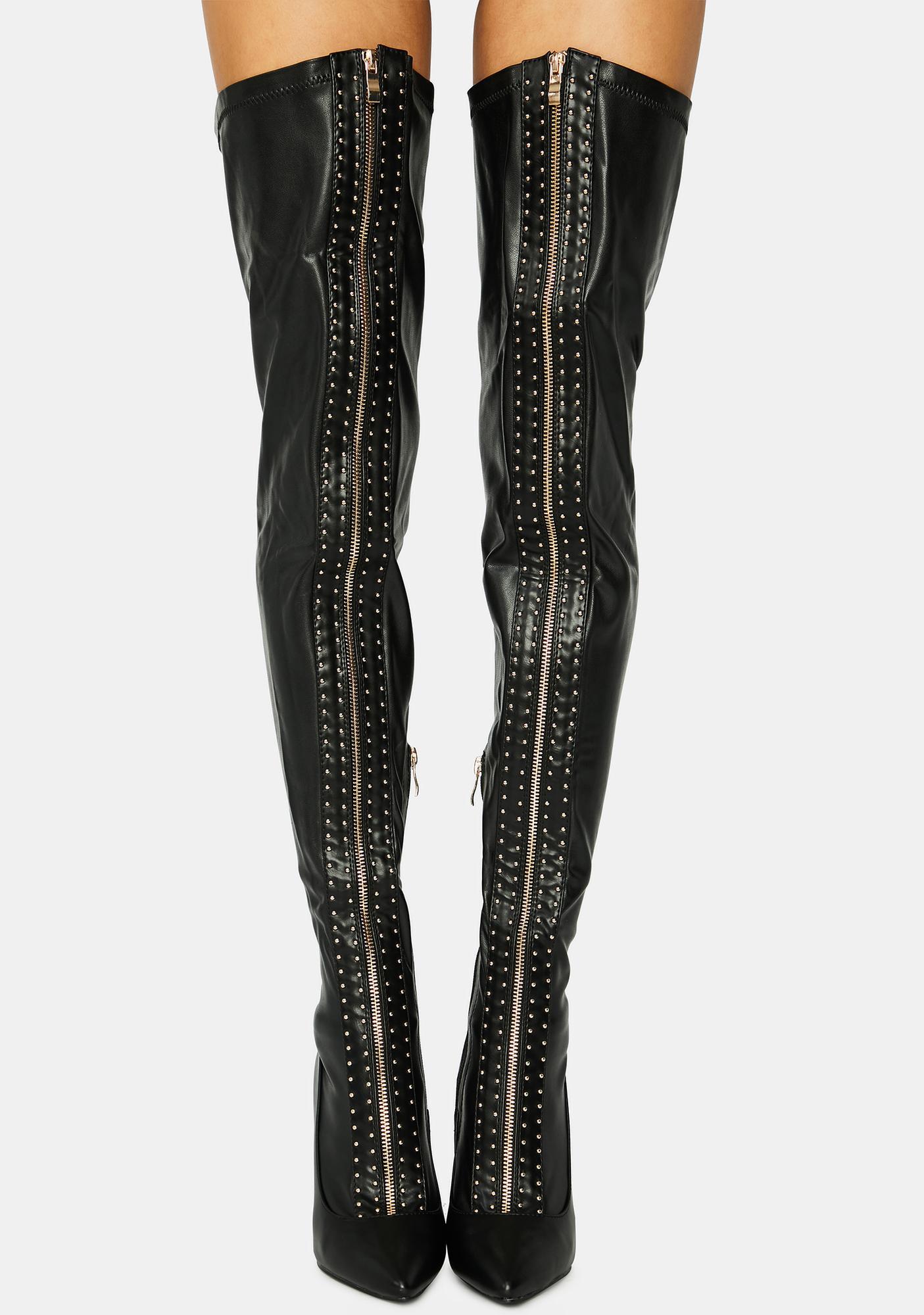 AZALEA WANG Orbit Thigh High Boots