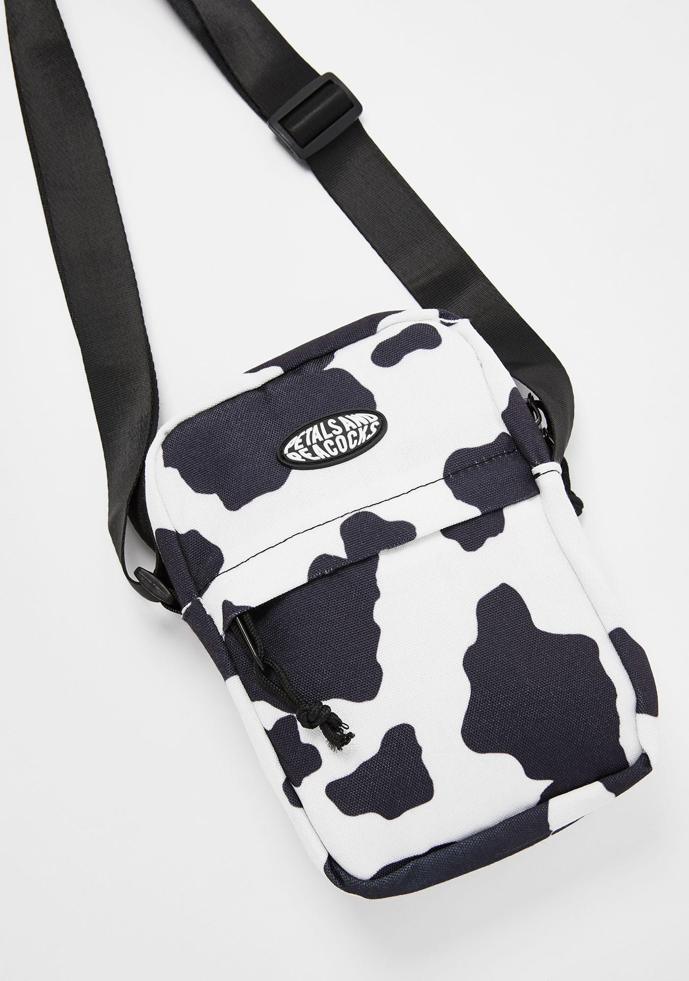 Petals and Peacocks Cow Print Shoulder Bag