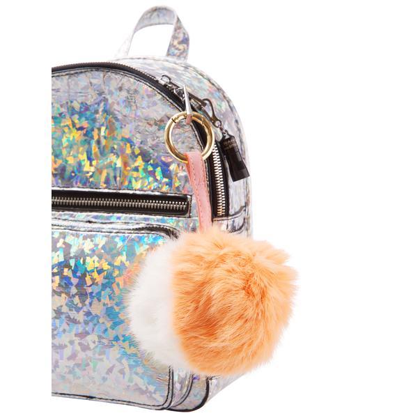 Split Personality Fluffy Pom Keychain