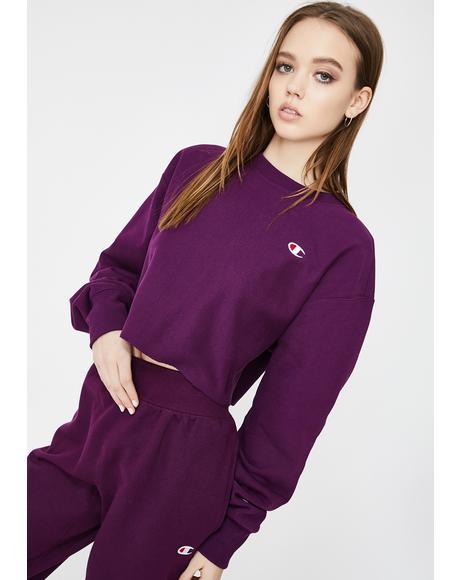 Venetian Purple Reverse Weave Crop Crewneck