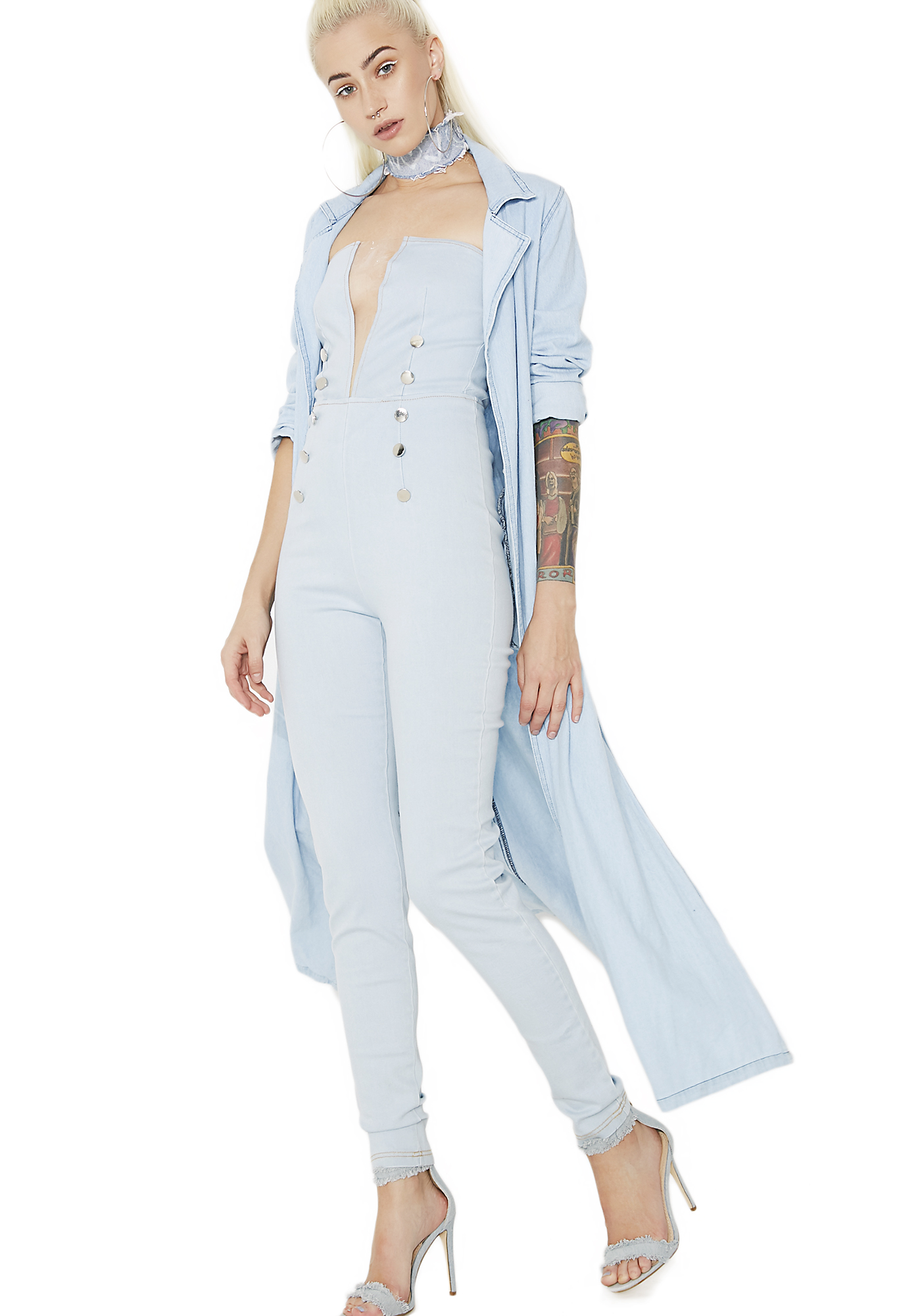 Blue Denim Strapless Jumpsuit