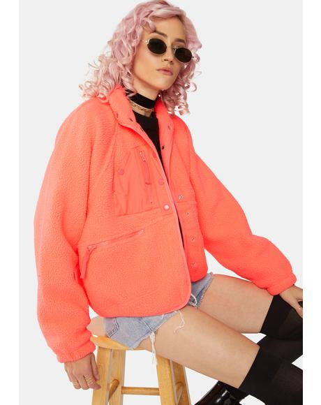 Neon Coral Hit The Slopes Fleece Jacket