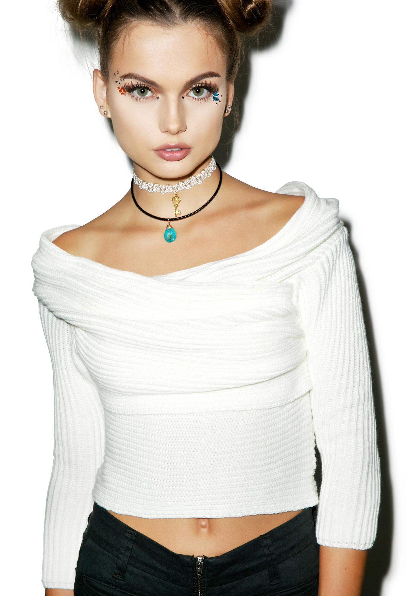 Line & Dot Dust Ya Shoulders Off Sweater