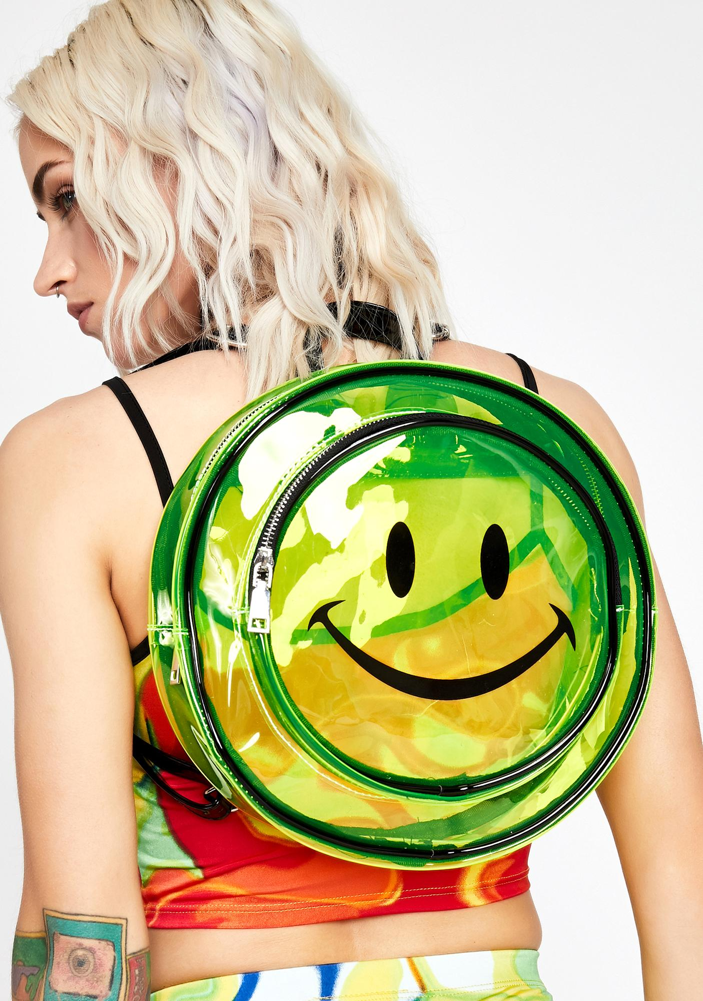 Neon Sassy Smiles Clear Backpack
