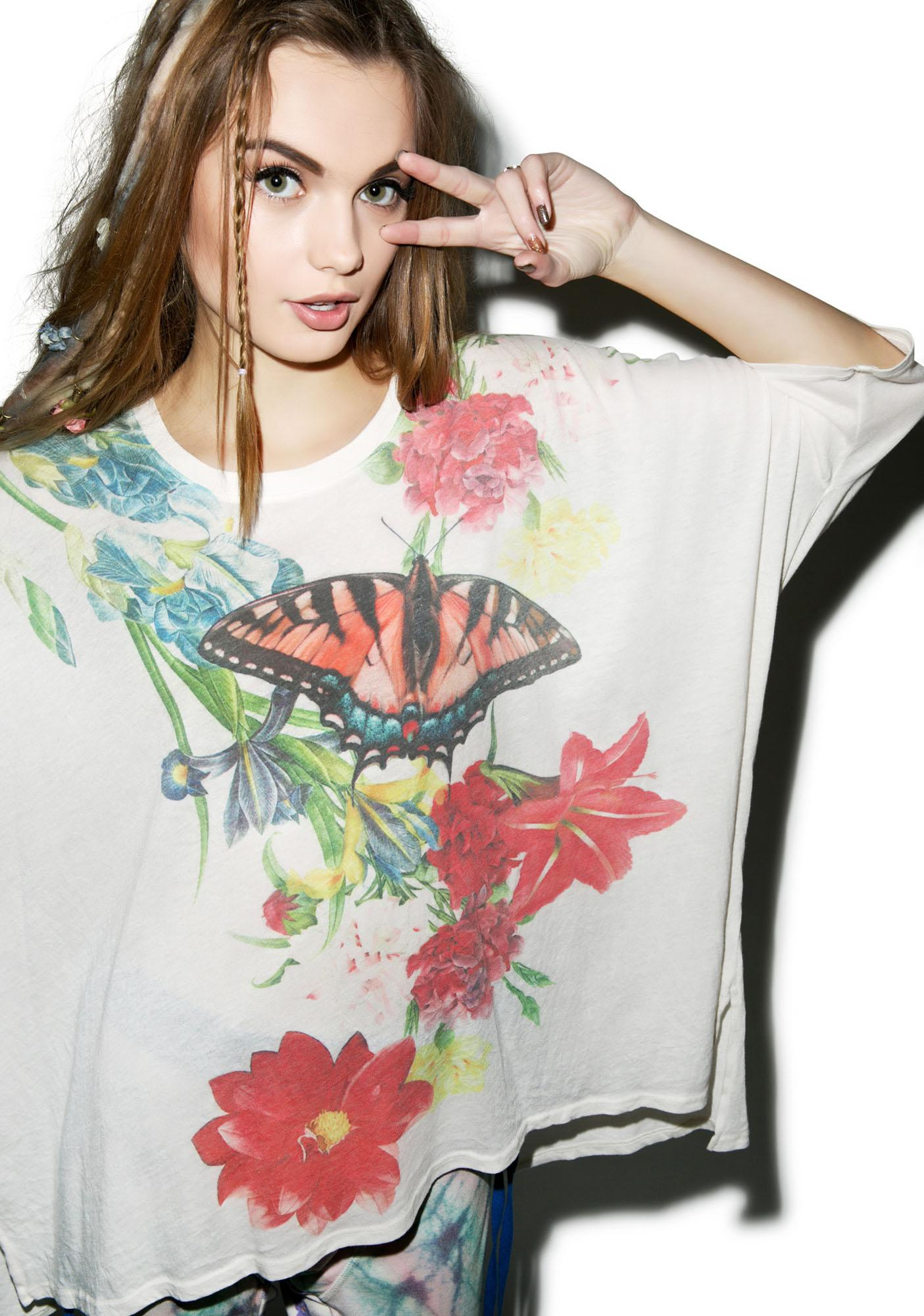 Wildfox Couture Floral Butterfly Sunny Morning Tee