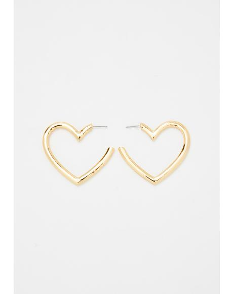 Give Ur Heart A Break Hoop Earrings