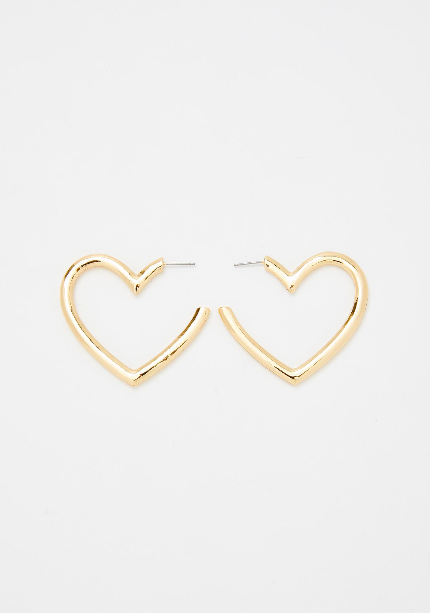 Give Ur Heart A Break Hoop Earrings