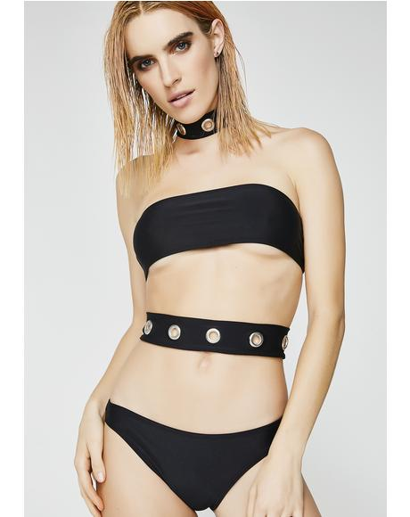 Eyelet Choker Cutout Swimsuit