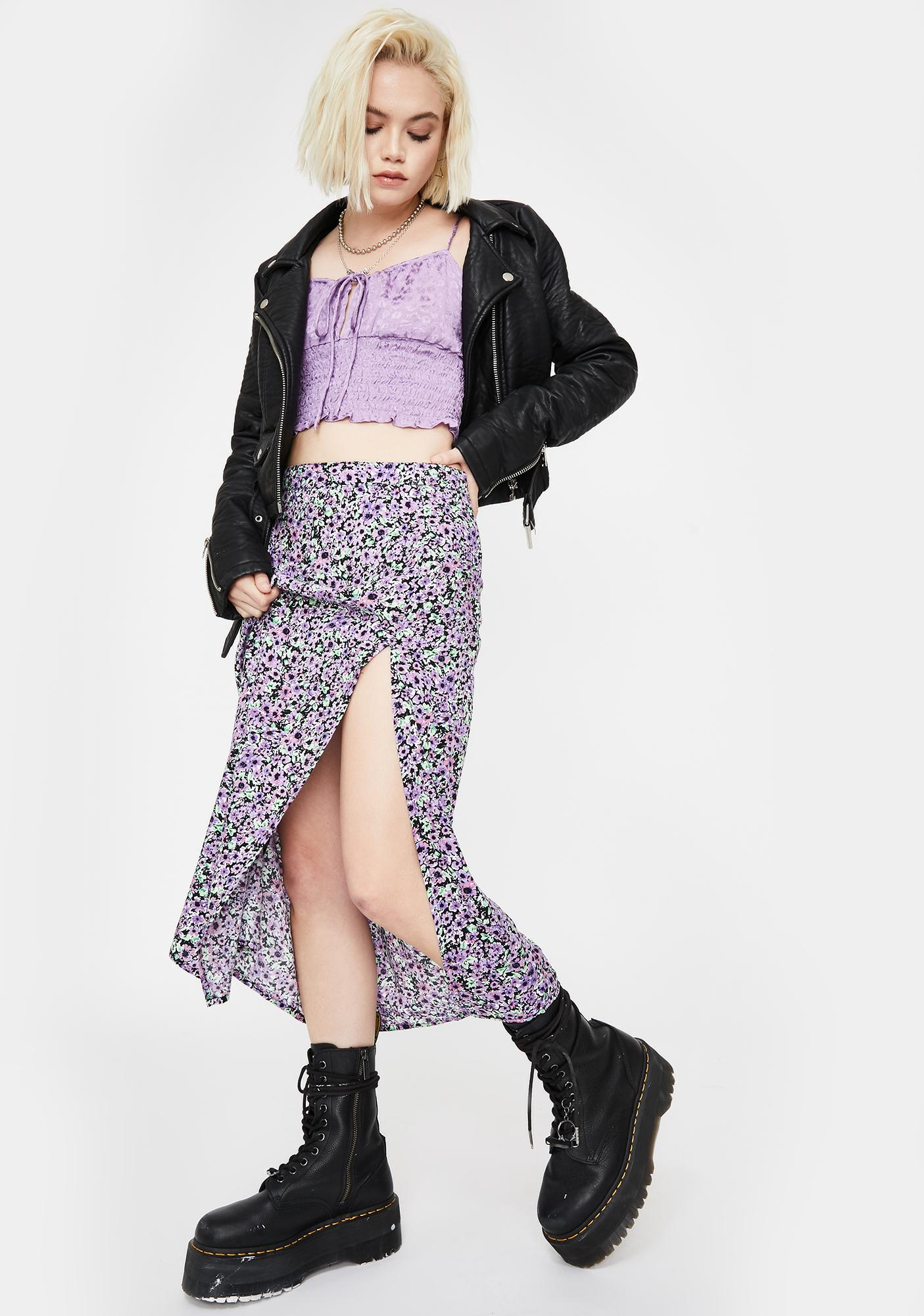 Motel Lilac Floral Saika Midi Skirt