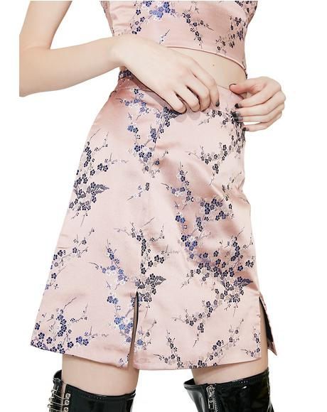 Sakura Embroidered Mini Skirt