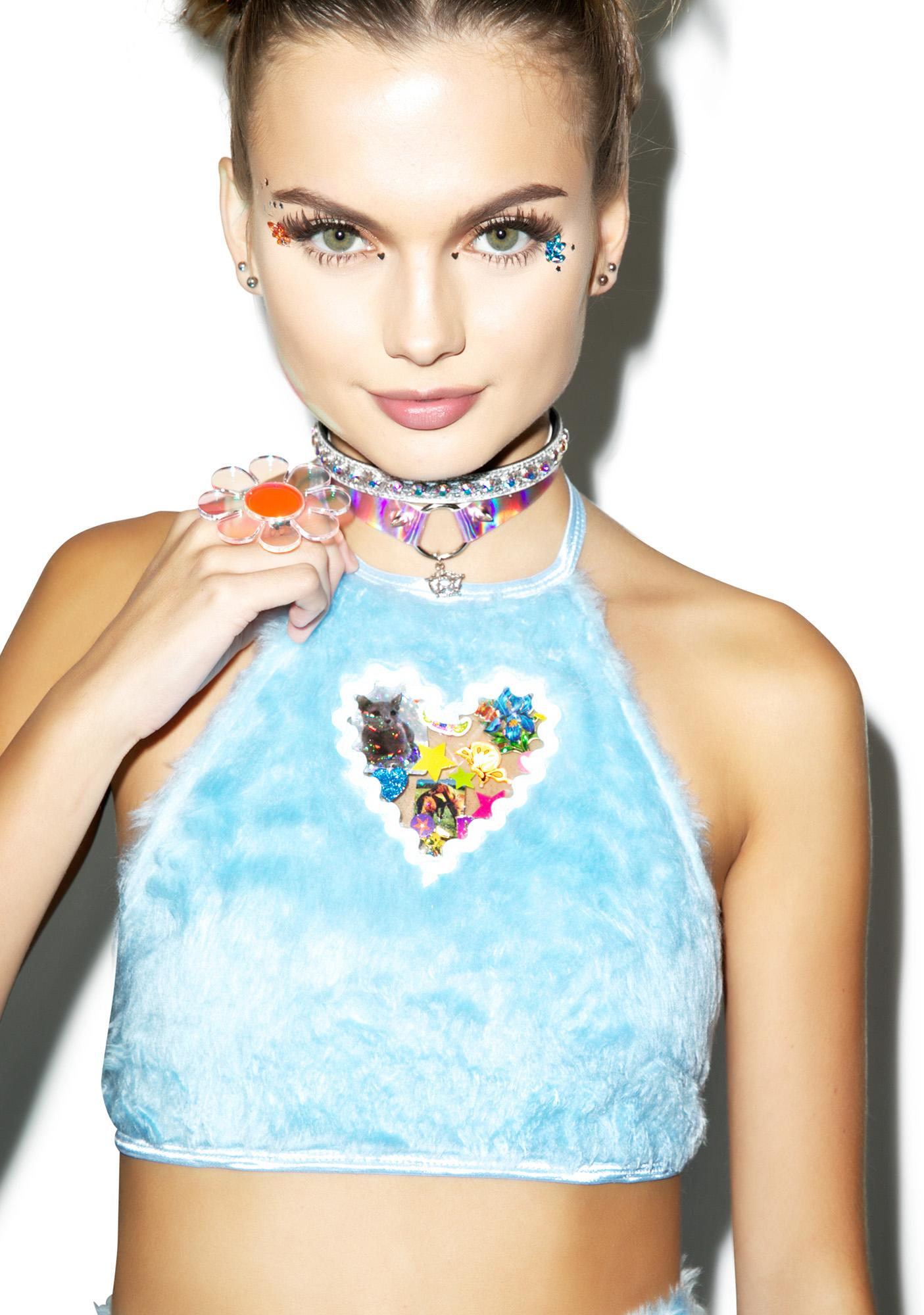 indyanna pastel britney faux fur crop halter top dolls kill