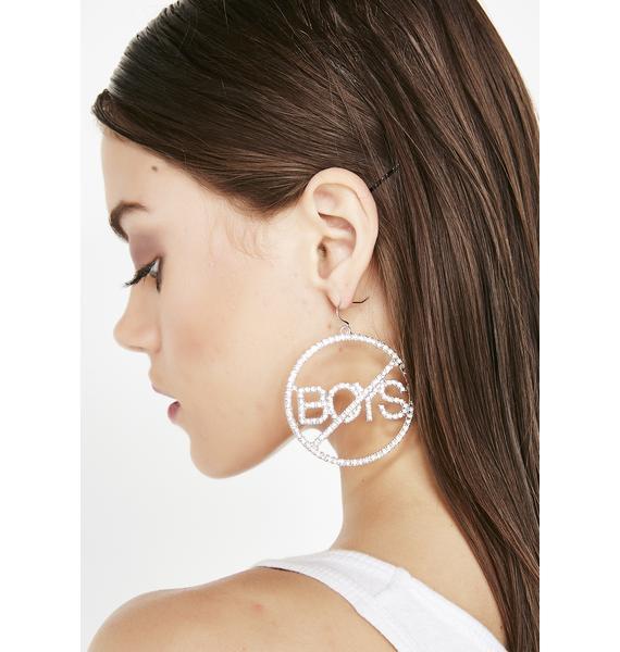 No Boys Hoop Earrings