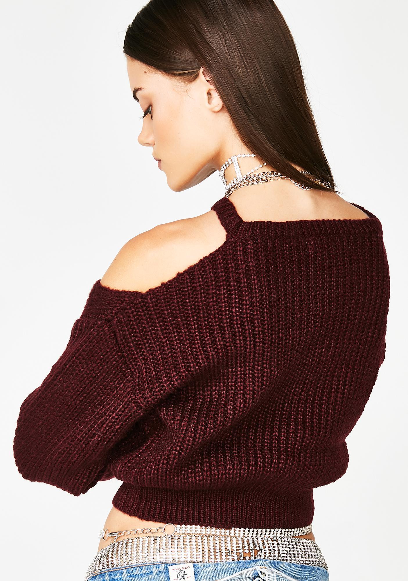 Plum Lost My Mind Cutout Sweater
