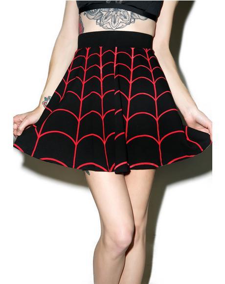 Web Red Skater Skirt