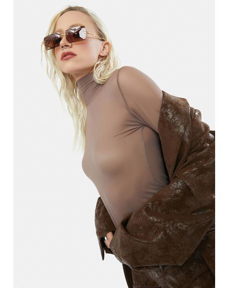 Dark Mink Mesh Turtleneck