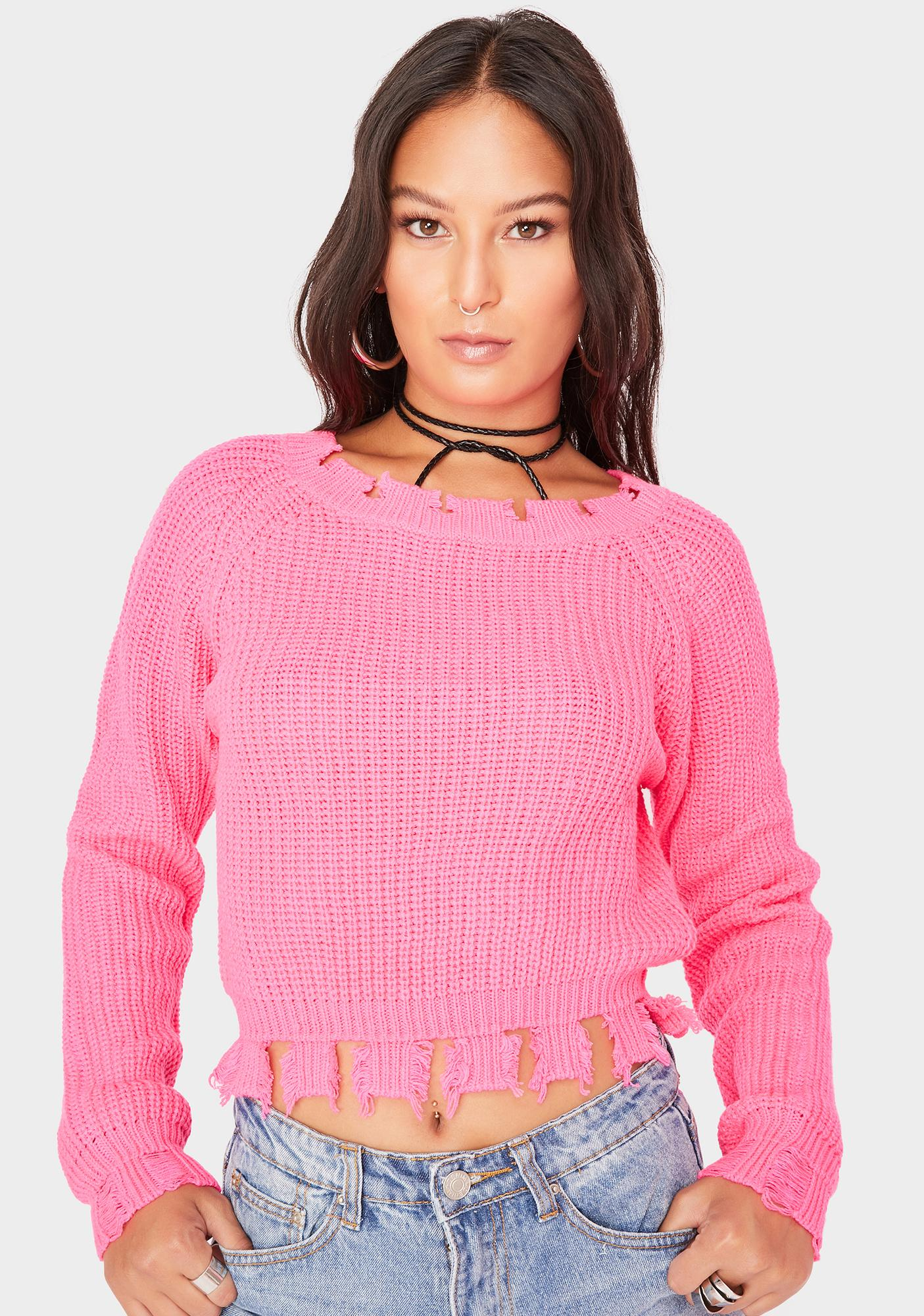 SWNY Pink Cropped Deconstructed Wide Neck Sweater