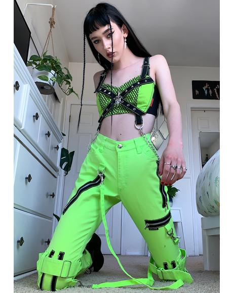 Neon Lime Zipper Strap Cargo Pants