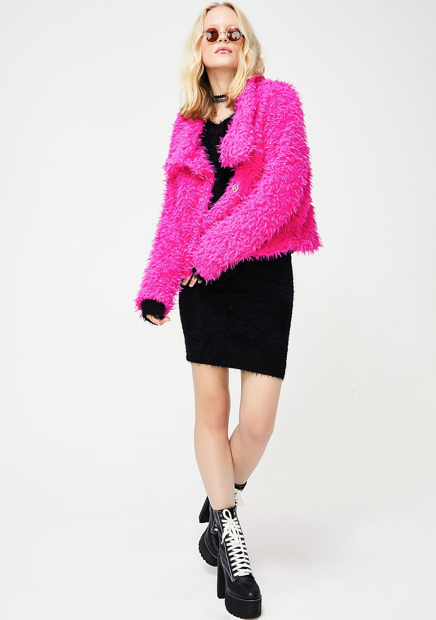 Fuschia Bright Eyes Fuzzy Jacket