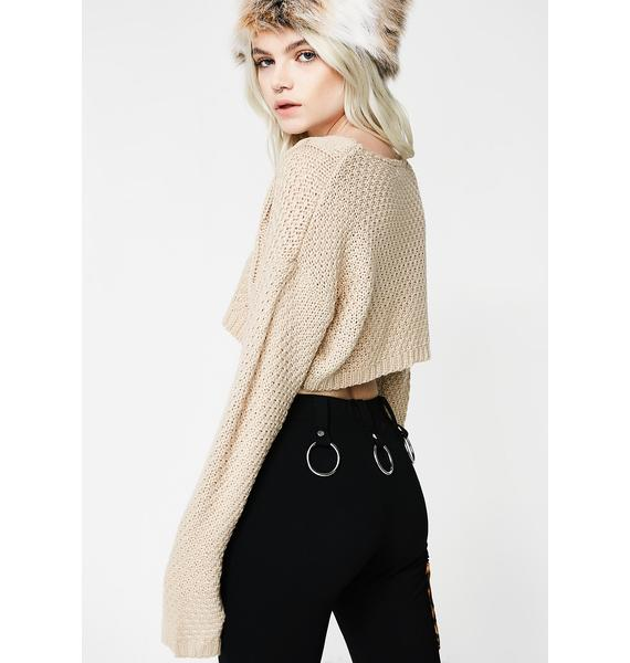 Taupe Cropped Knit Sweater | Dolls Kill