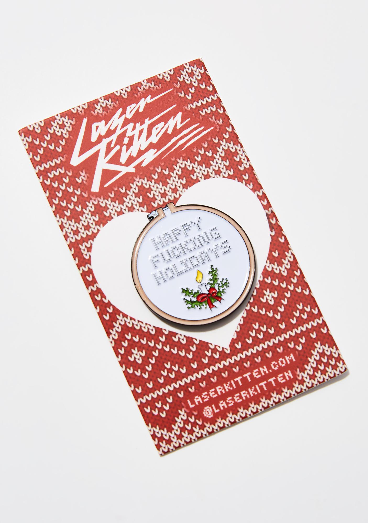 Laser Kitten Holidays Cross Stitch Pin