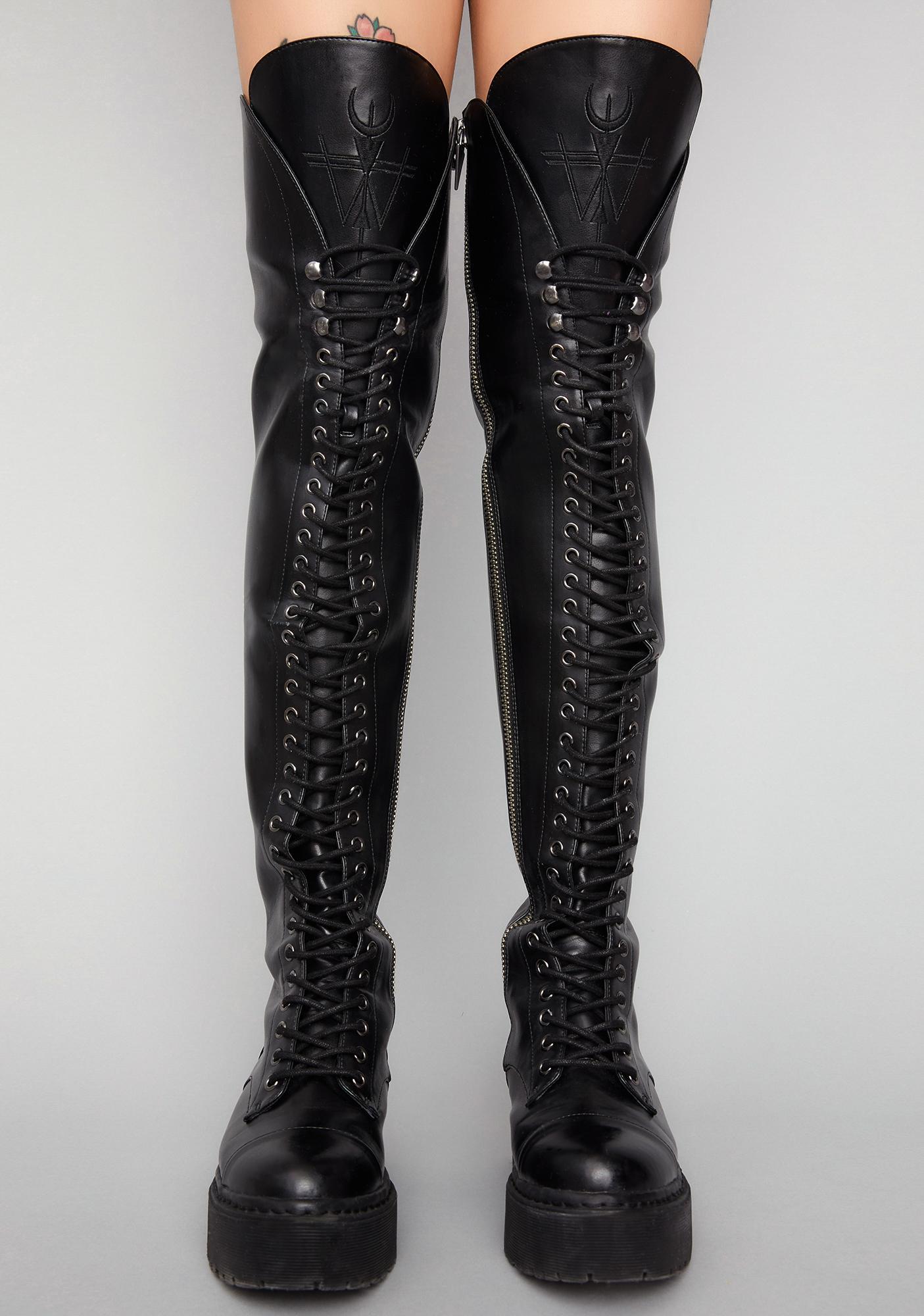 baf6af2cdc3a Widow Memento Mori Thigh High Boots