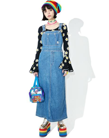 Vintage 90s DKNY Overall Maxi Dress
