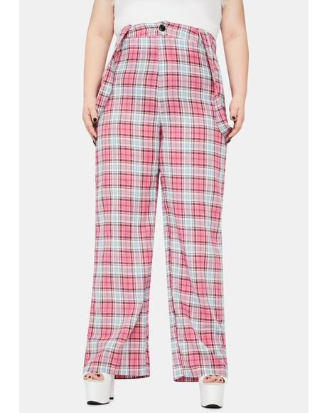 Always Take My Lead Suspender Plaid Pants