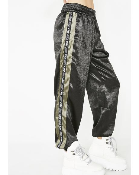 Juicy Side Stripe Satin Track Pants