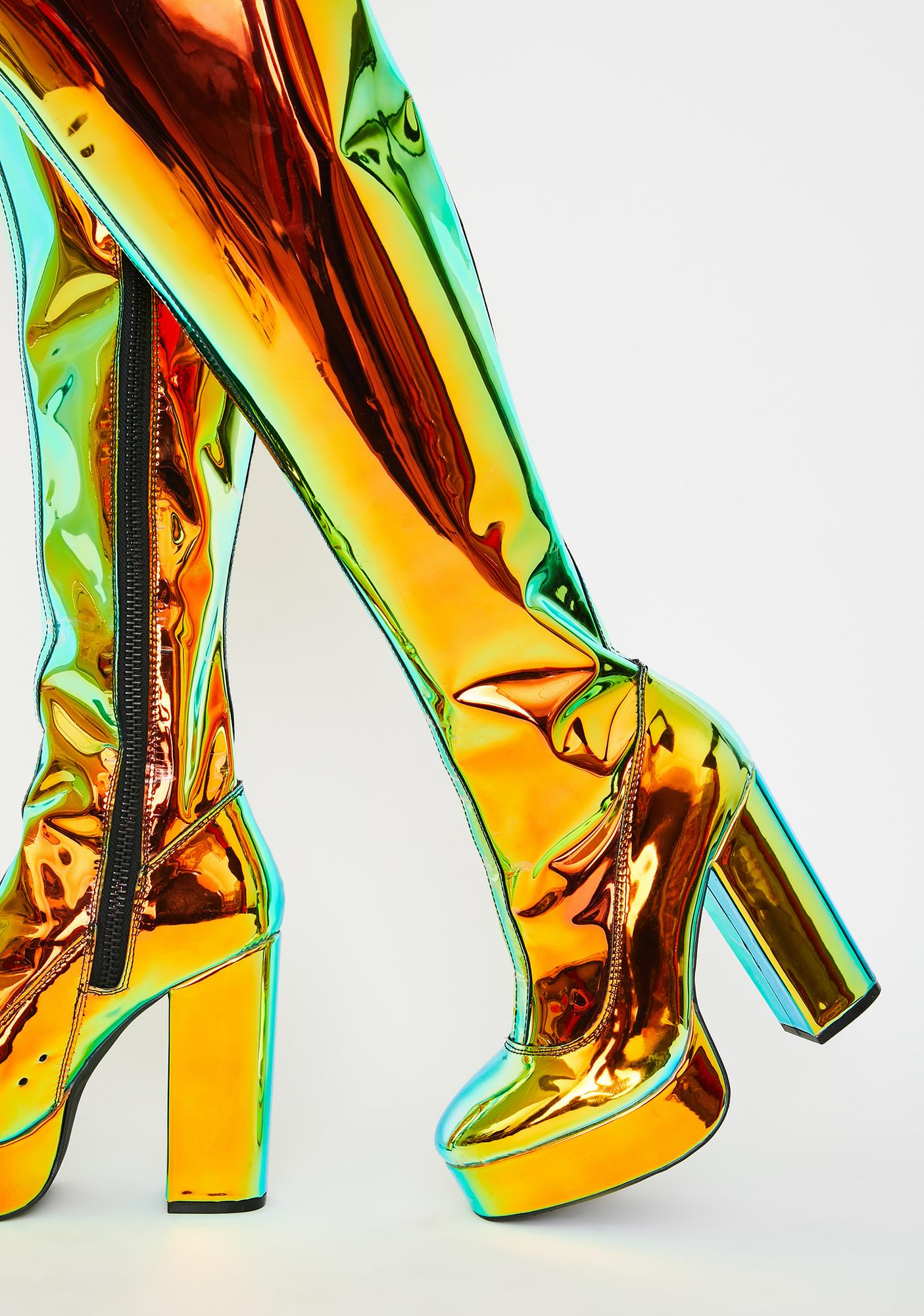 Current Mood Amber Prismatic Galactic Thigh Highs