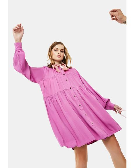 Orchid Long Sleeve Shirt Dress