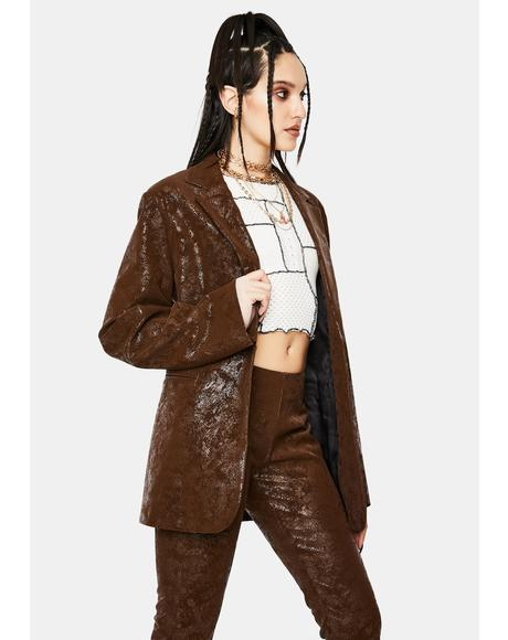 Brown Vegan Leather Suit Jacket