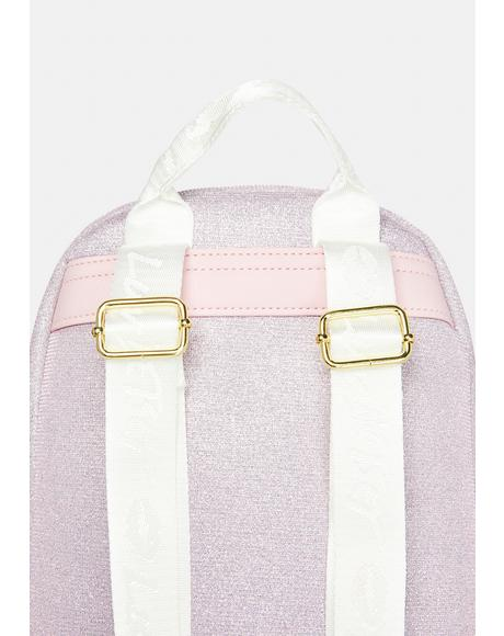 Glitter Satin Strap Mid Size Backpack