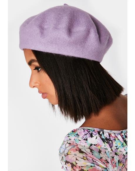 Lavender Romance Fantasy Wool Beret