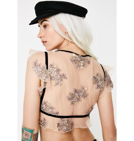 For Love & Lemons Lilac Amber Illusion Crop Top