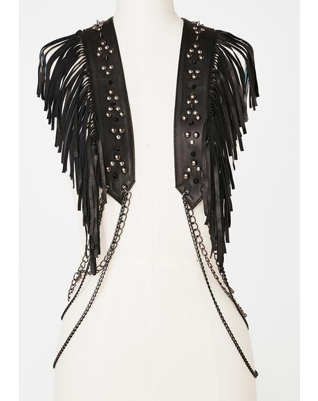 Fringe Vest With Chains